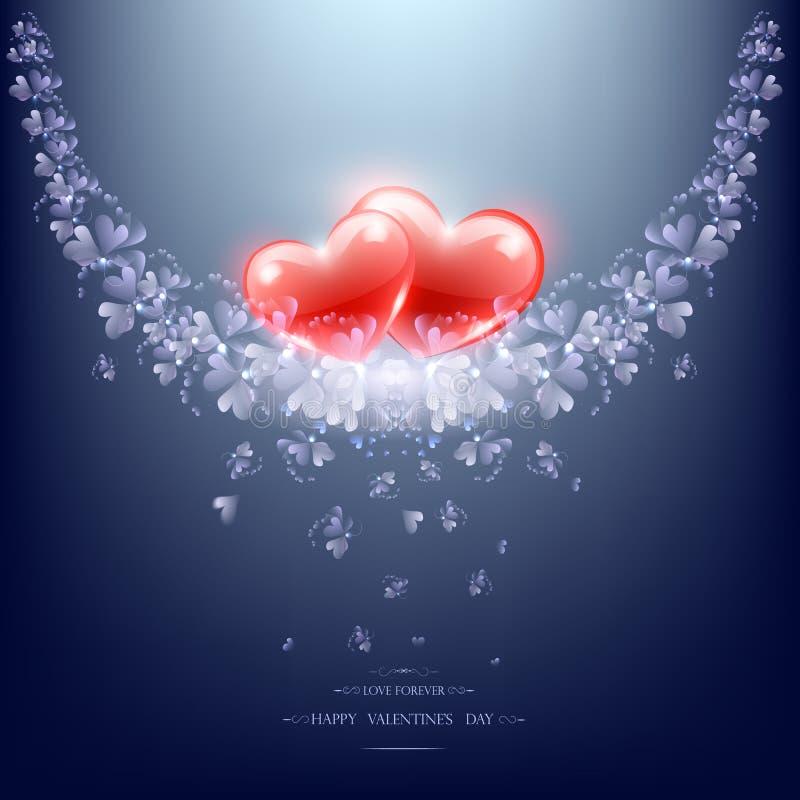 Deux coeurs et branches rouges de fleur illustration de vecteur