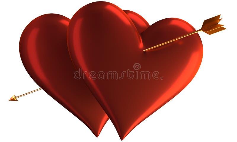 Deux coeurs et flèches illustration libre de droits
