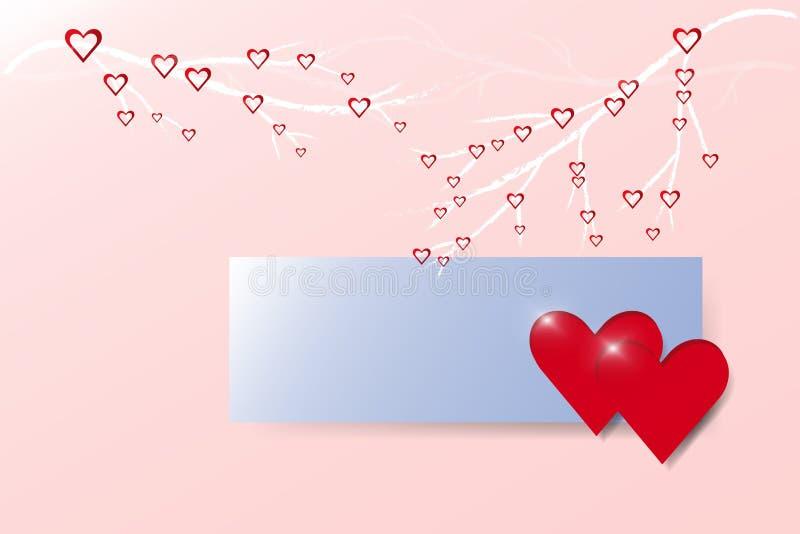 Deux coeurs et rectangle bleu sur le fond rose à la mode illustration libre de droits