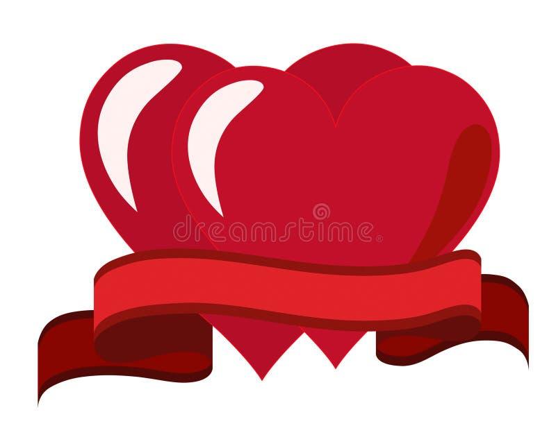 Deux coeurs et une bande rouge illustration libre de droits