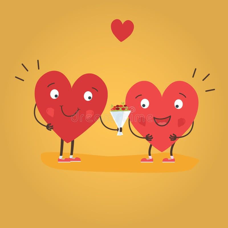 Deux coeurs heureux dans l'amour Couples mignons dans l'amour donnant des fleurs Carte heureuse de vecteur de jour de Valentine s illustration stock