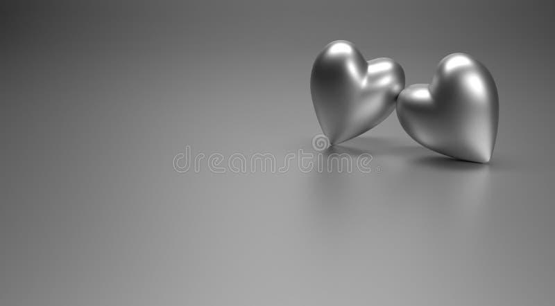 Deux coeurs métalliques 3D illustration libre de droits