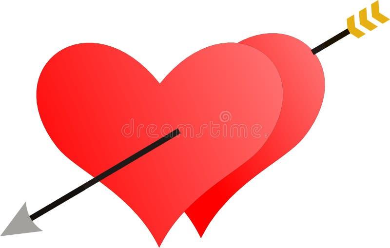 Deux coeurs pénétrés par une flèche photographie stock libre de droits