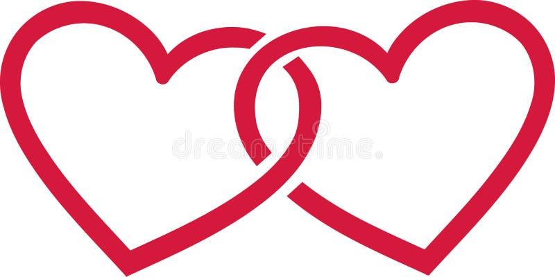 Deux coeurs reliés illustration de vecteur