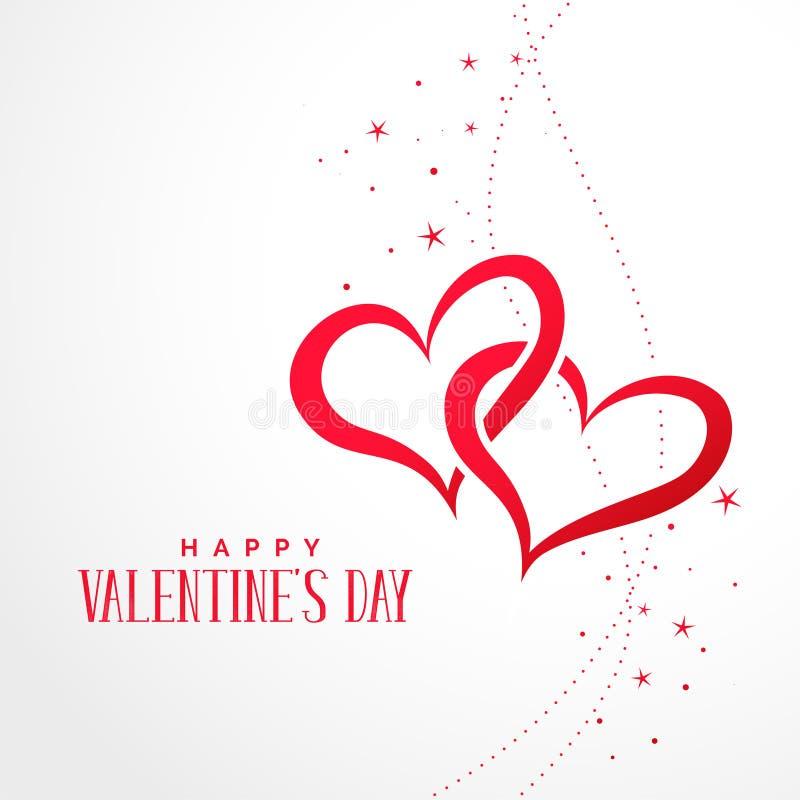 Deux coeurs reliés avec le fond de jour de valentines d'étoiles illustration libre de droits