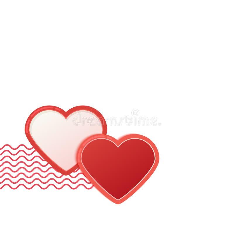 Deux coeurs rouges avec des vagues Bannière de salutation de jour de valentines d'isolement sur le fond blanc illustration de vecteur