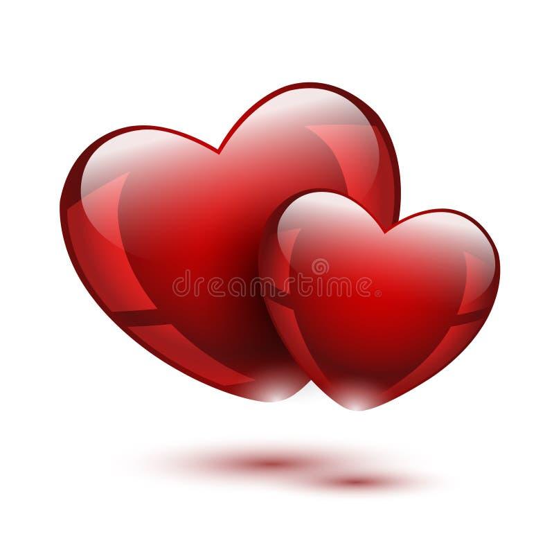 Deux coeurs rouges en verre illustration de vecteur