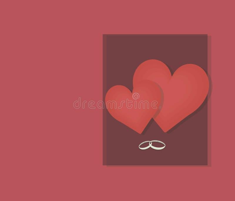 Deux coeurs rouges grands et petits sur un fond d'un rectangle foncé de cerise et des anneaux de mariage avec une carte rouge d'o illustration de vecteur