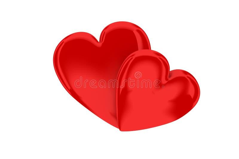 Deux coeurs rouges simples illustration libre de droits