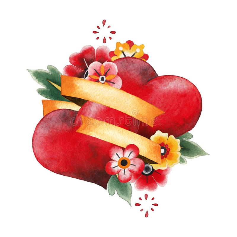 Deux coeurs, rubans et fleurs d'aquarelle illustration de vecteur