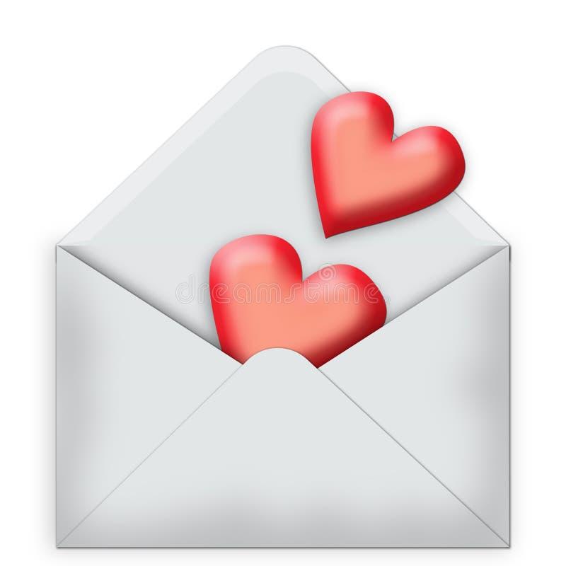 Deux coeurs sous enveloppe illustration libre de droits