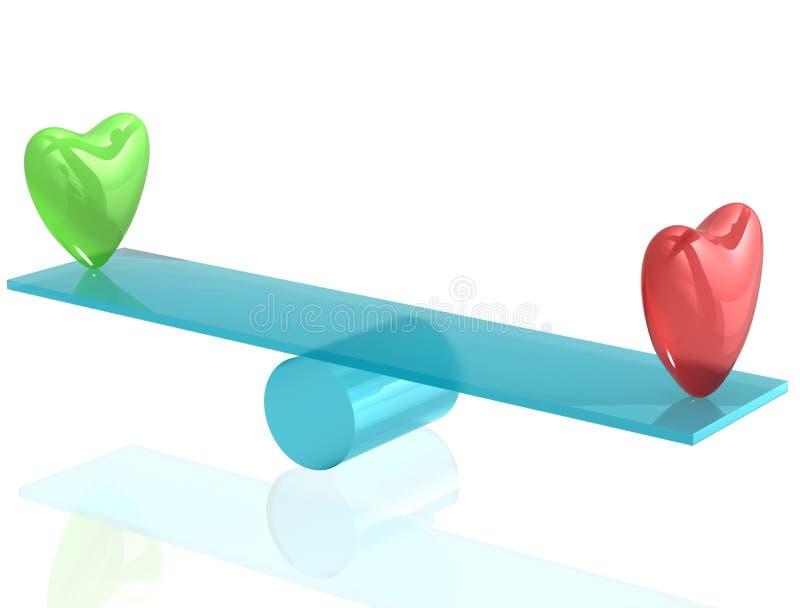 Deux coeurs sur la balançoir illustration de vecteur