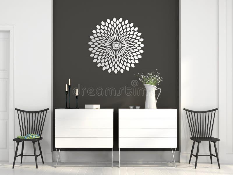Deux coffres blancs des tiroirs et des chaises noires illustration stock