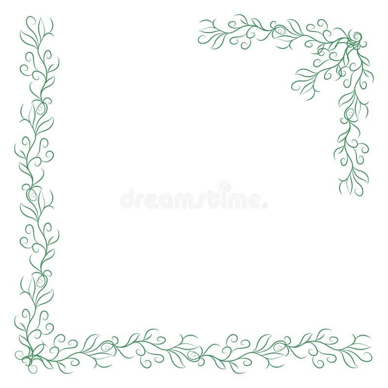 Deux coins verts de cru sur le fond blanc Frontière florale tirée par la main élégante illustration libre de droits