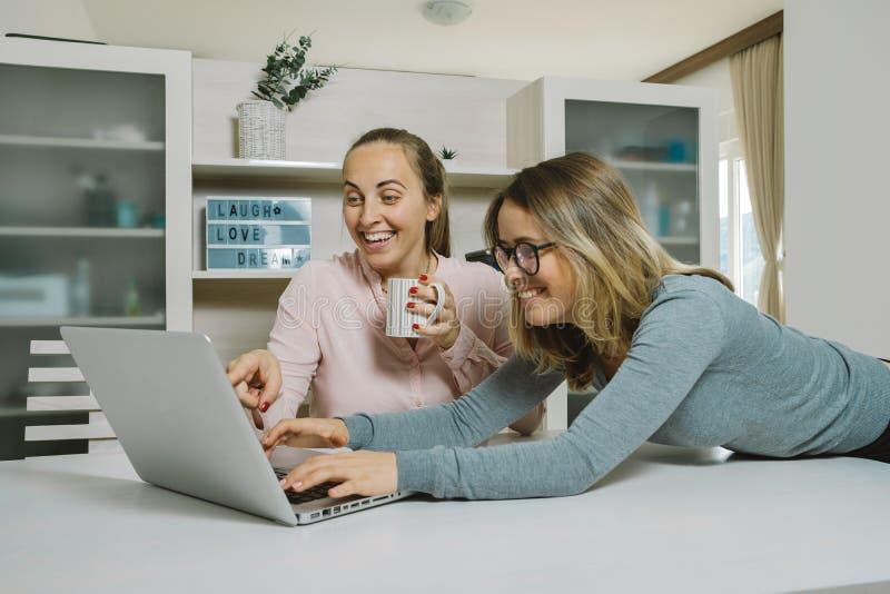 Deux collègues féminins discutent un projet et le pointage à l'ordinateur portable i photos libres de droits