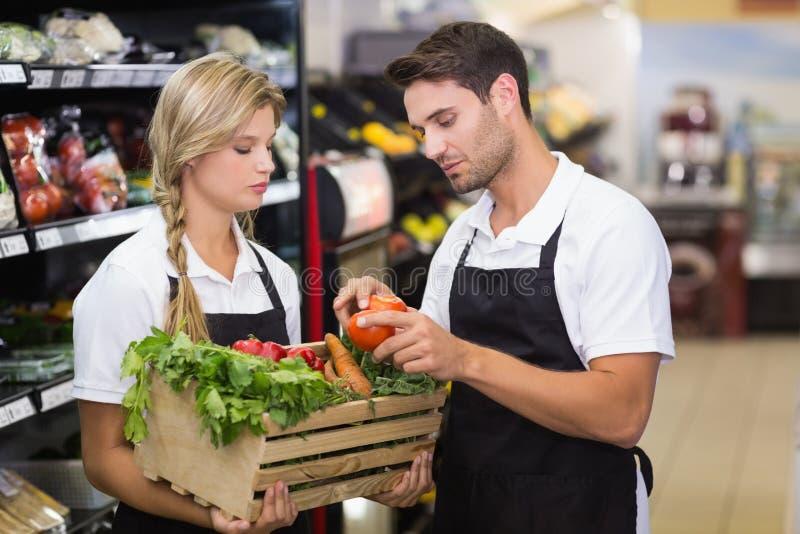 Download Deux Collègues Tenant Une Boîte Avec Les Légumes Frais Image stock - Image du affaires, fixation: 56487719