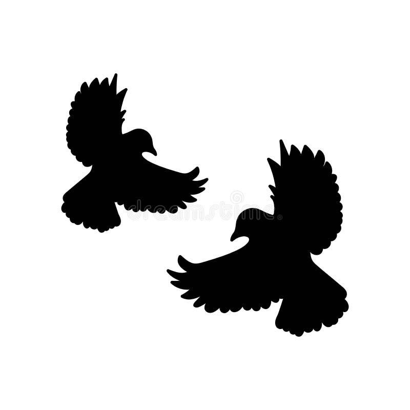 Deux colombes volantes noires d'isolement sur le fond blanc Illustration de vecteur illustration libre de droits
