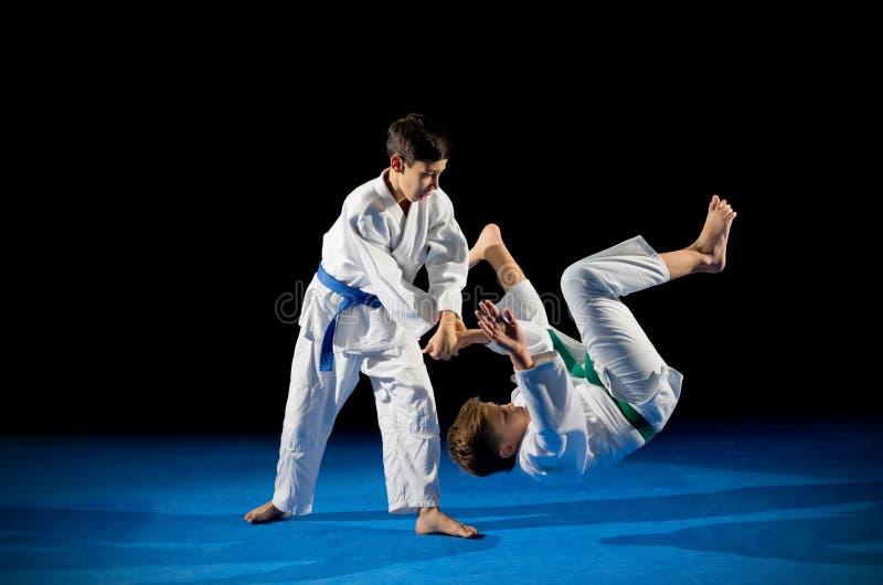 Deux combattants d'arts martiaux de garçons photos stock