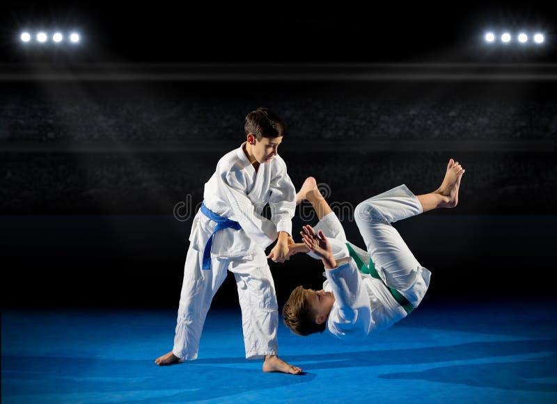 Deux combattants d'arts martiaux de garçons images stock