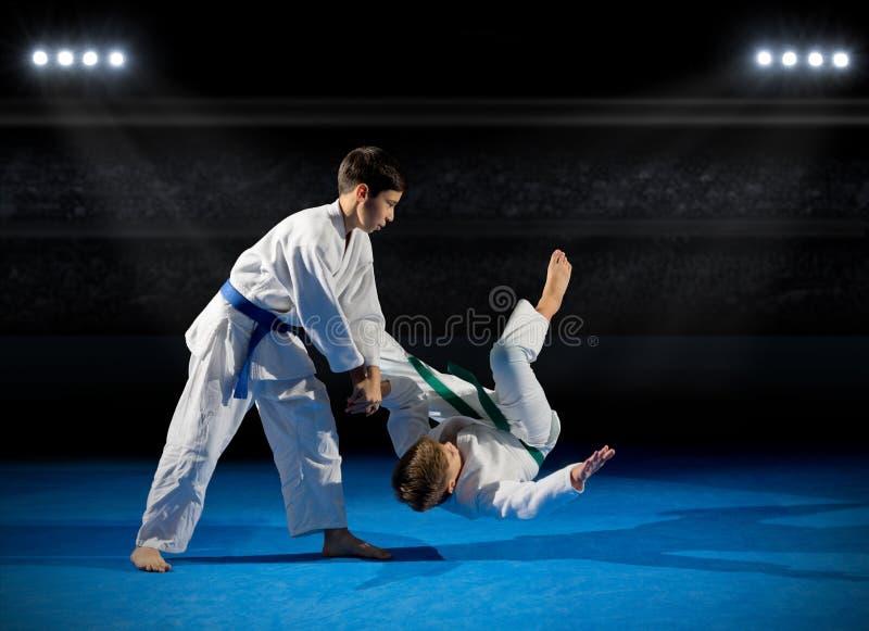 Deux combattants d'arts martiaux de garçons image libre de droits