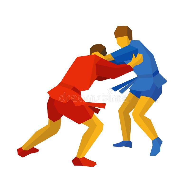 Deux combattants de sambo en bleu et rouge enfants chinois de KONGFU illustration libre de droits