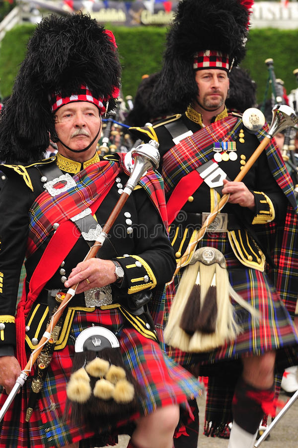 Commandants de tambour de marche, Braemar, Ecosse photos libres de droits
