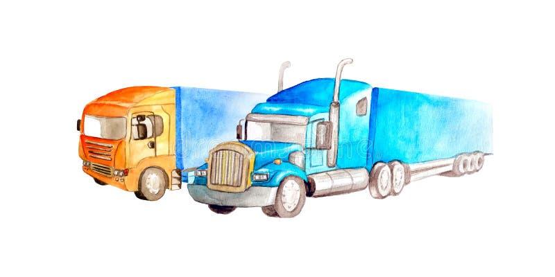 Deux couples troquent semi le camion de différentes couleurs, modèles de camion et les conceptions se tiennent côte à côte sur un illustration stock
