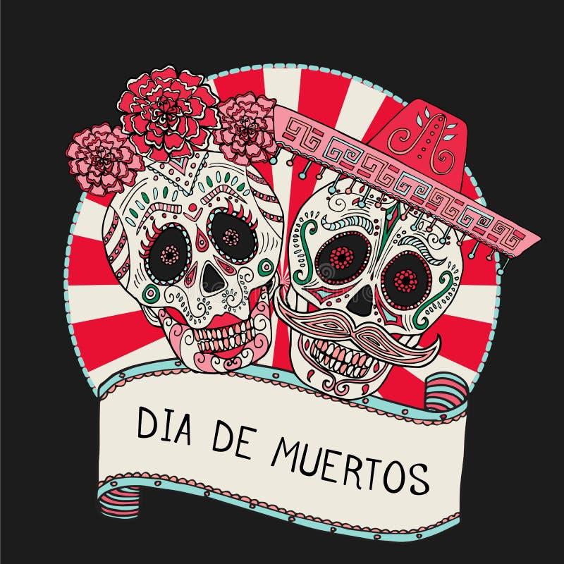 Deux crânes de sucre dirigent l'illustration pour le jour des morts photo libre de droits