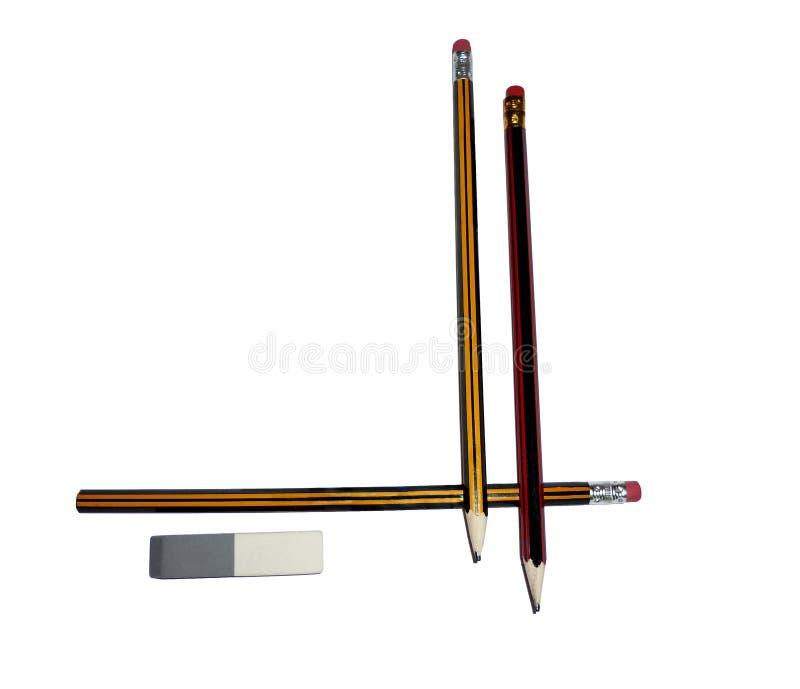 Deux crayons avec une gomme image libre de droits