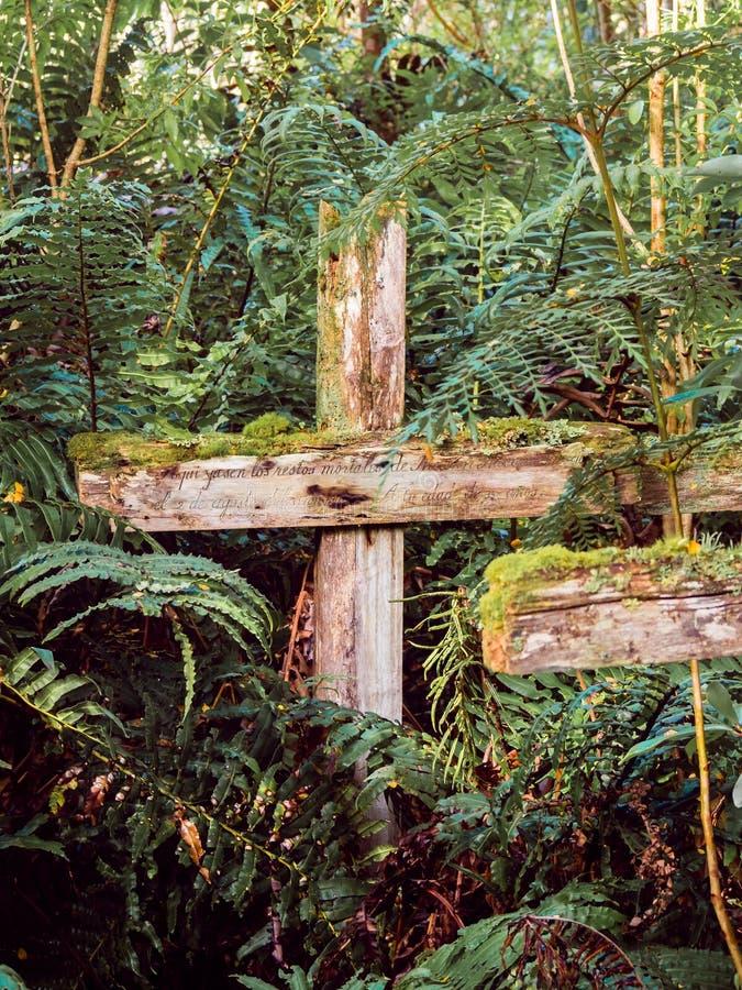 Deux croix en bois sur Isla de los Muertos, Caleta Tortel, Patagonia De Chili image stock