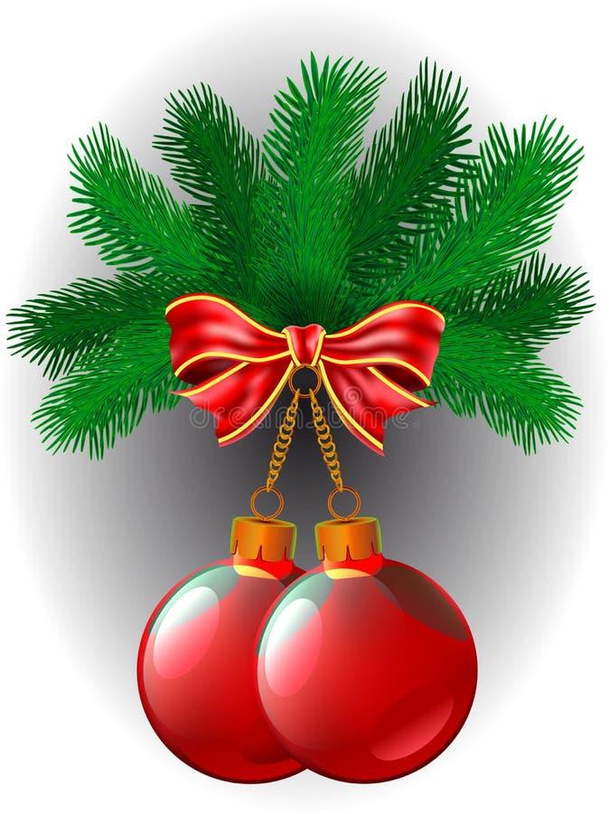 Deux de boules rouges de Noël et arc accrochent sur une branche illustration stock