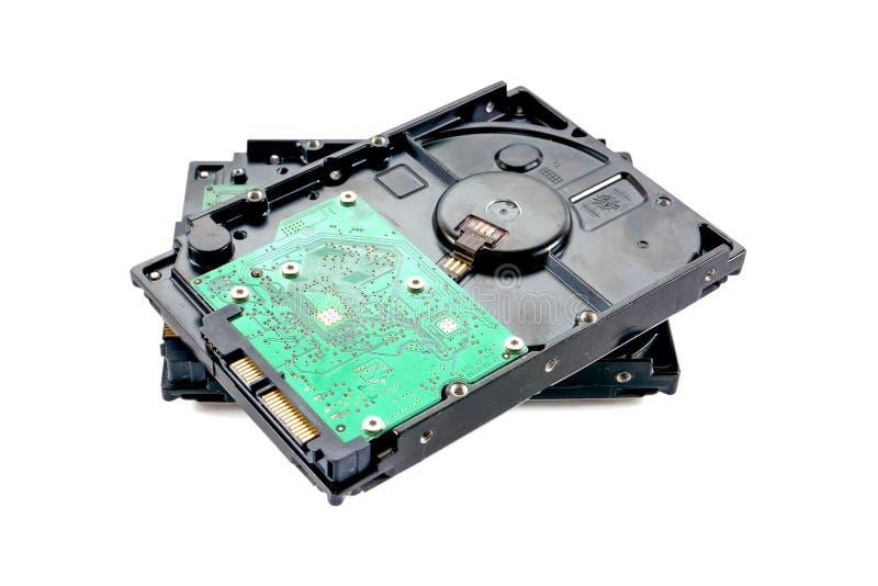 Deux de lecteur de disque dur HDD d'isolement sur le fond blanc photos libres de droits