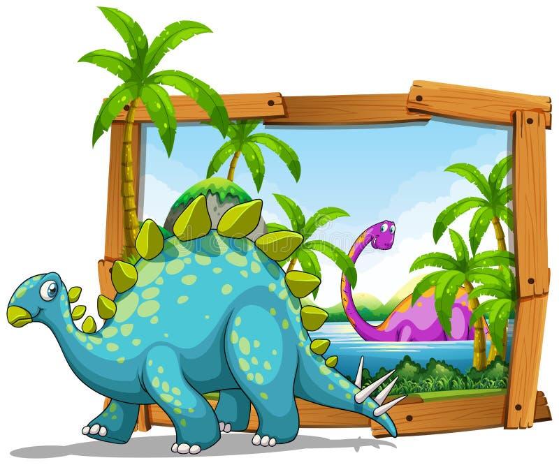 Deux dinosaures dans le cadre en bois illustration libre de droits
