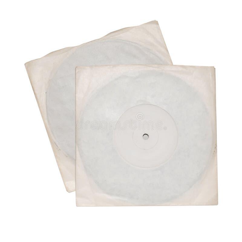 Deux disques vinyle dans des douilles blanches images stock