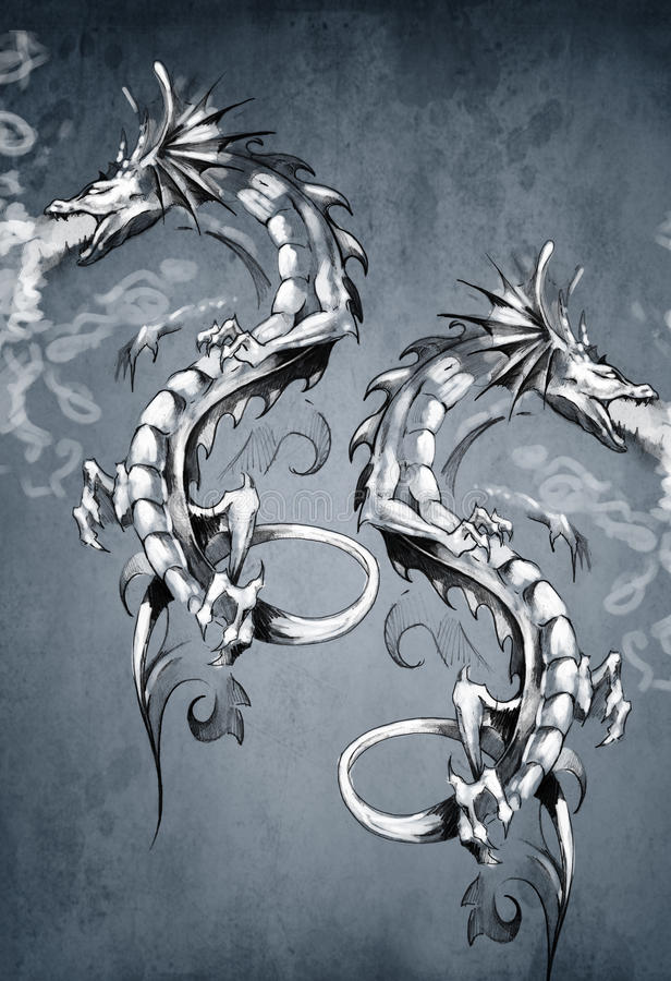 Deux dragons d'imagination, art de tatouage illustration stock