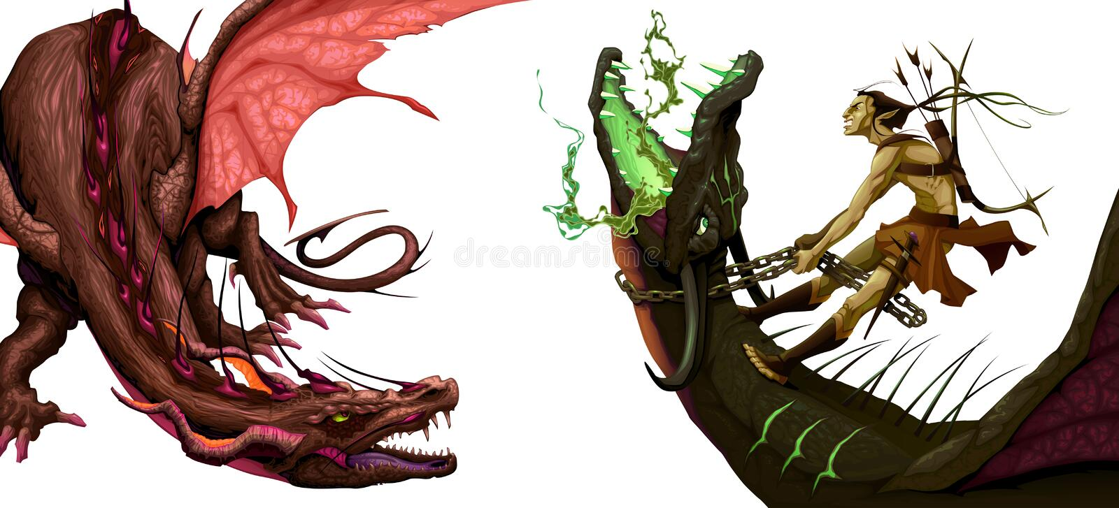 Deux dragons d'isolement illustration de vecteur