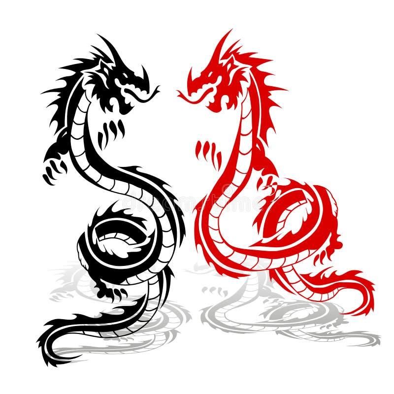 Deux dragons rouges et noirs, dans le combat, silhouette sur le backgro blanc illustration de vecteur