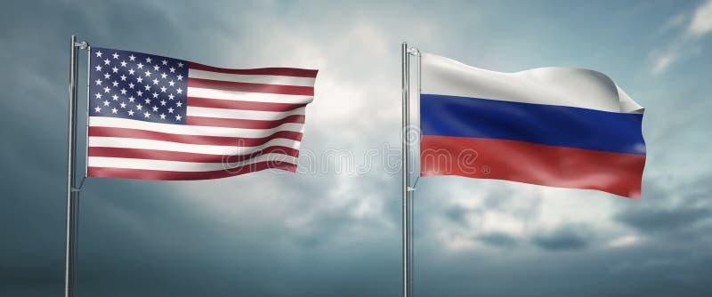 Deux drapeaux d'état des Etats-Unis d'Amérique et de la Fédération de Russie, se faisant face et me déplaçant le vent illustration de vecteur