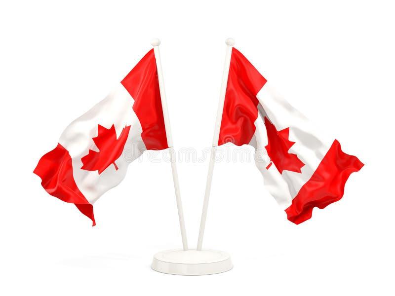 Deux drapeaux de ondulation de Canada illustration libre de droits