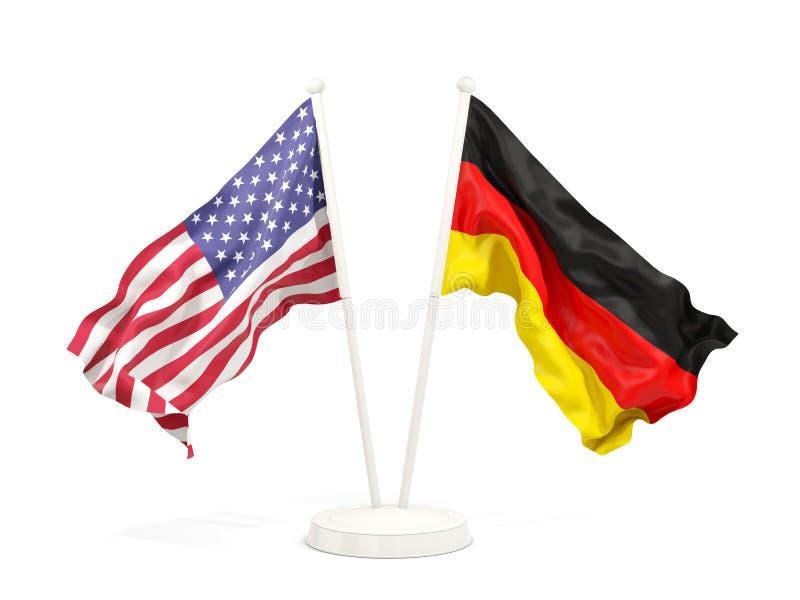 Deux drapeaux de ondulation des Etats-Unis et de l'Allemagne illustration de vecteur