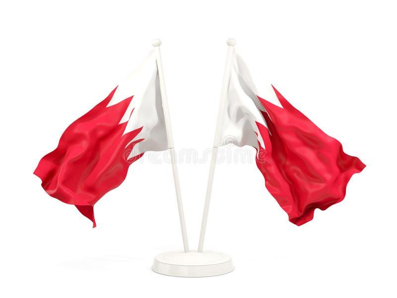 Deux drapeaux de ondulation du Bahrain illustration libre de droits