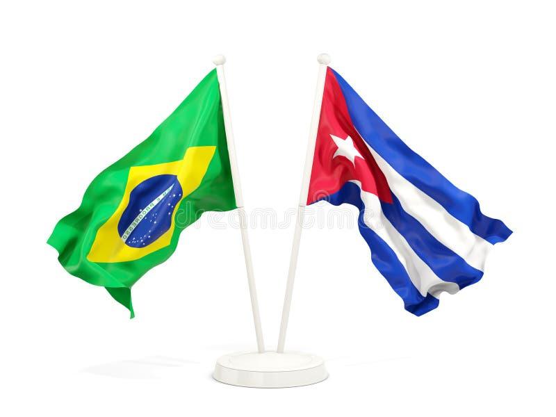 Deux drapeaux de ondulation du Brésil et du Cuba d'isolement sur le blanc illustration de vecteur