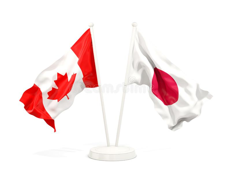 Deux drapeaux de ondulation du Canada et du Japon illustration de vecteur