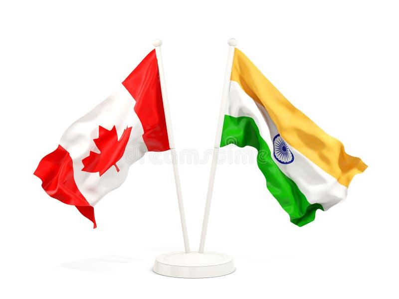Deux drapeaux de ondulation du Canada et de l'Inde illustration libre de droits