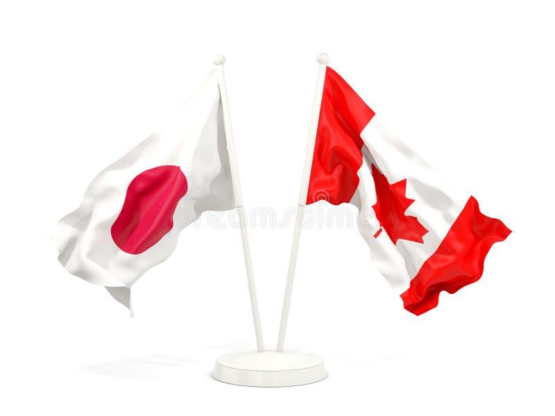 Deux drapeaux de ondulation du Japon et du Canada illustration de vecteur