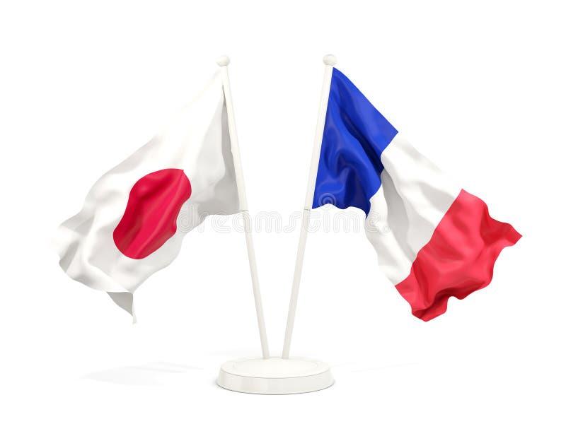 Deux drapeaux de ondulation du Japon et de la France illustration stock