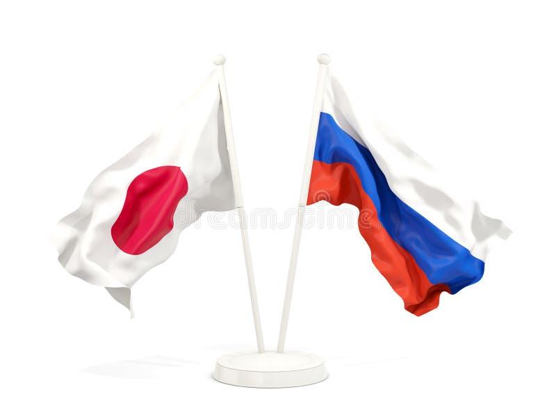 Deux drapeaux de ondulation du Japon et de la Russie illustration stock