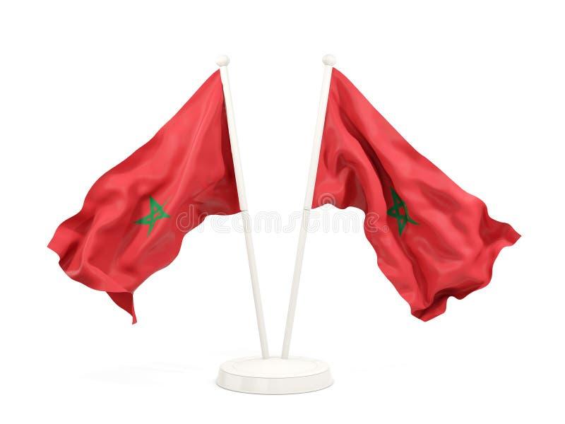 Deux drapeaux de ondulation du Maroc illustration stock
