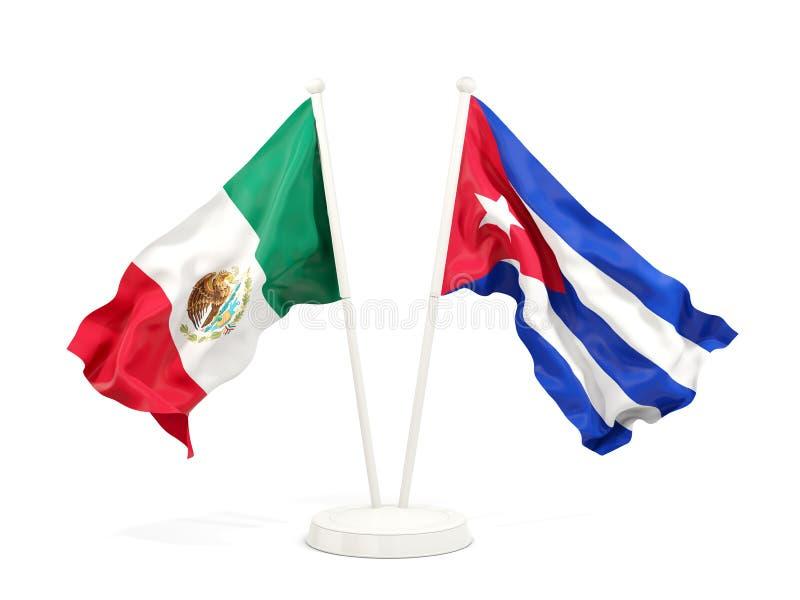 Deux drapeaux de ondulation du Mexique et du Cuba d'isolement sur le blanc illustration libre de droits