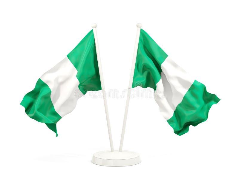 Deux drapeaux de ondulation du Nigéria illustration de vecteur